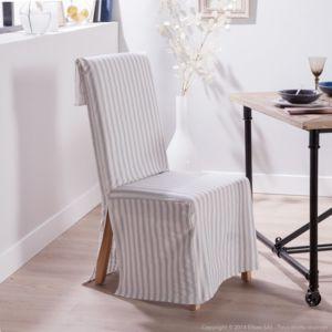comptoir des toiles housse de chaise polycoton rabat dossier large rayure gris daphnee pas. Black Bedroom Furniture Sets. Home Design Ideas