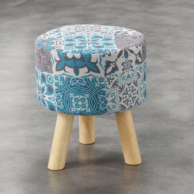 Ligne Decor Cdaffaires So tabouret 0, 32 cm x ht 36 cm fils coupes imprime persane Bleu
