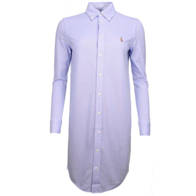 Ralph Lauren - Robe-chemise polo en coton piqué bleu pour femme - pas cher  Achat   Vente Robes - RueDuCommerce 74ed7861653