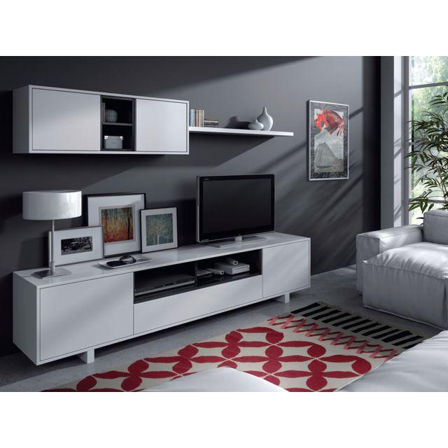 HABITAT ET JARDIN Ensemble meuble TV Bexus - 200 x 41 x h46 cm - Blanc