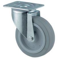 Tente - Roulette Standard De Manutention Gris Souple - Type:Pivotante - Ø roue mm:160 - Haut. mm:200 - Dim. Platine mm : - Charge kg:300