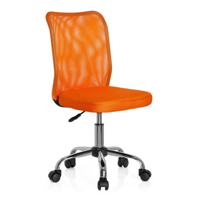 Chaise de bureau pour enfant Siège pivotant Kiddy Net tissu maille orange