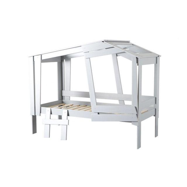 miliboo lit cabane gris robinson 90cm x 190cm pas cher achat vente lit enfant rueducommerce. Black Bedroom Furniture Sets. Home Design Ideas