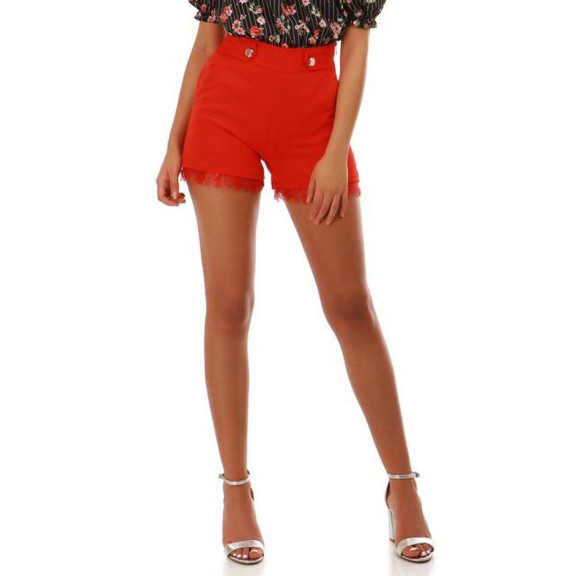 Lamodeuse - Short taille haute rouge avec