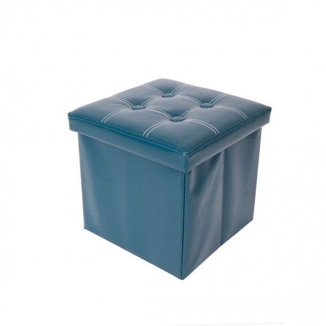 Mobili Rebecca - Pouf Coffre de Rangement repose-pieds Vert Salon Chambre 865484520a1a