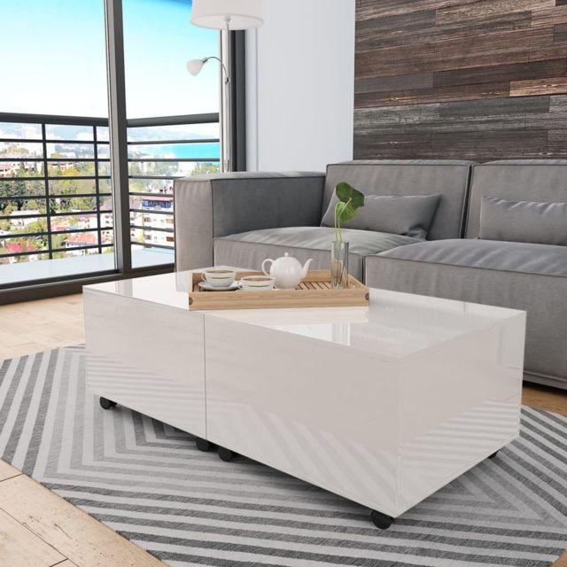 Vidaxl Table Basse Blanc Brillant Table d'Appoint Salon Canapé Rangement