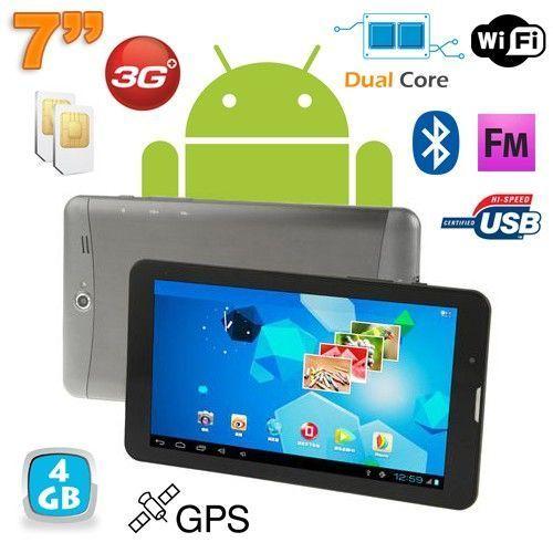 Yonis Tablette tactile 3G 7 pouces Dual core Android 4.0 Gps argent 4Go