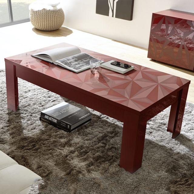 Sofamobili Table basse design rouge laqué Antonio 2