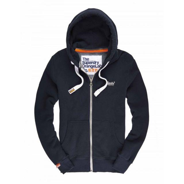 Superdry Sweat zippé à capuche Orange Label Bleu Marine