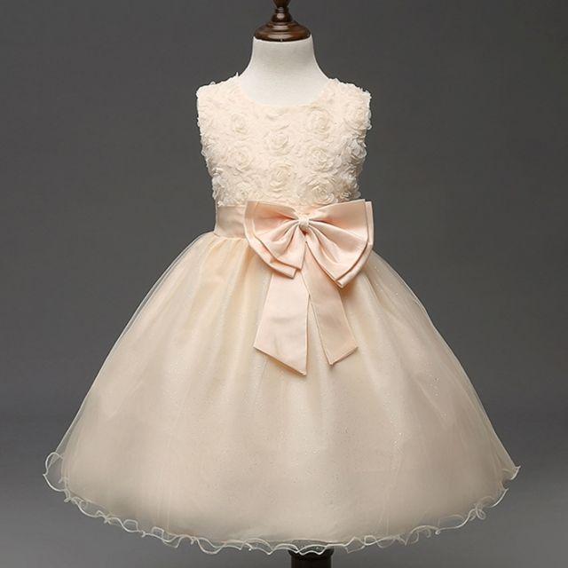 8487e6134e2 Wewoo - Robe enfant rose et champagne Fille Enfants Bow-tie de bal  demoiselle d