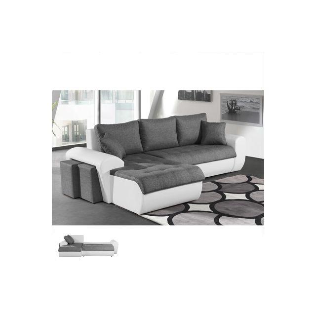 Canapé d'angle convertible à gauche gris et Pvc blanc Lizon
