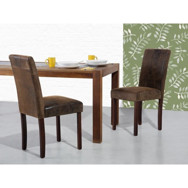 Beliani Chaise - Chaise salle à manger - Cuir vielli - Marron - Broadway