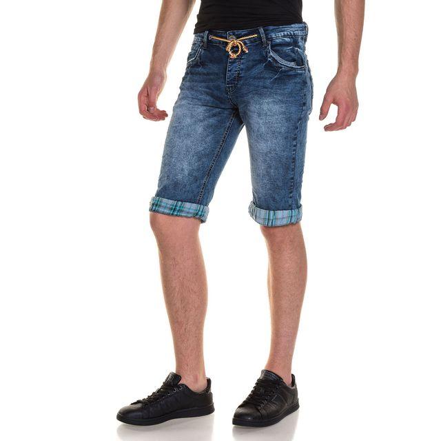 de559c65b616c BLZ Jeans - Bermuda homme en jean bleu délavé revers à carreaux ...