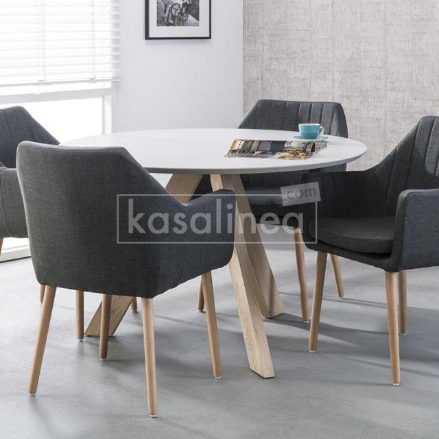 Kasalinea Table à manger ronde blanche pieds en chêne massif Enora