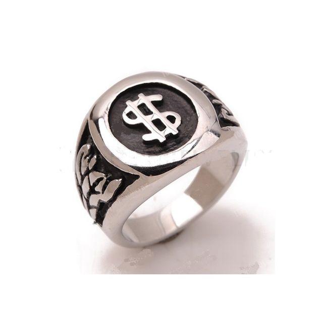 Universel - Bague dollar 10us inox chevaliere homme femme rock roll biker dc200b704e0b