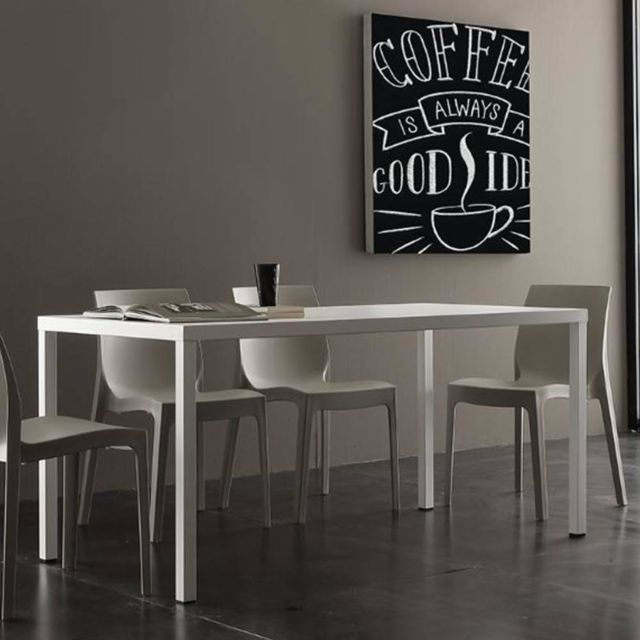 Inside 75 Table repas fixe Carter blanche 80 x 120 cm