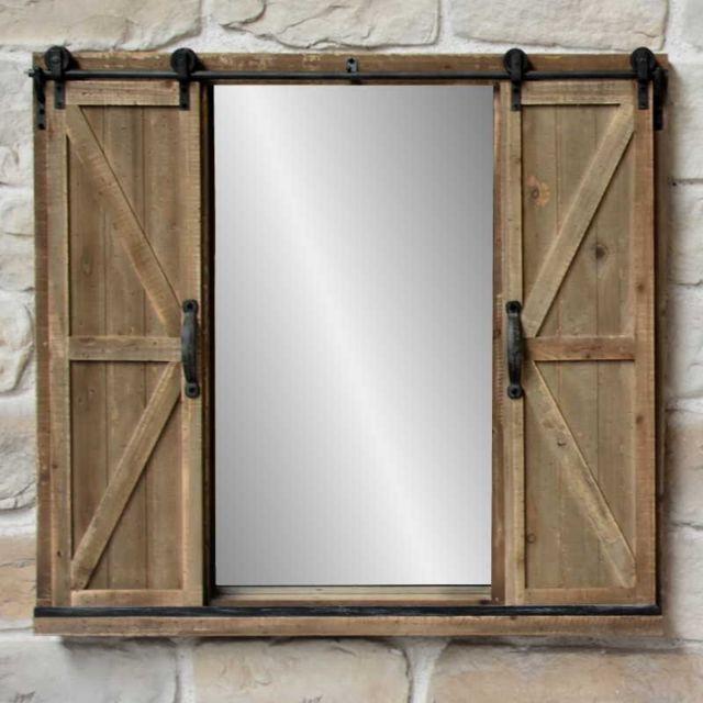 Chemin De Campagne Miroir Fenêtre à Volets sur Roulettes Industriel Campagne 100 cm x 90 cm