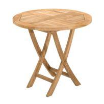 - Table ronde pliante en teck 80 cm