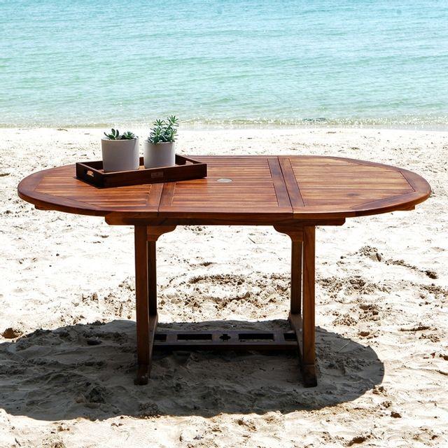 Bois Dessus Bois Dessous Table de jardin en bois de teck huilé Bali 6/8 places