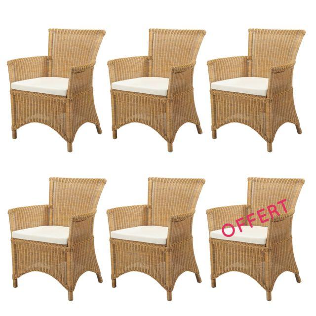 Rotin-design Soldes: -41% Lot de 6 fauteuils en rotin Rosas jaune - Rotin Design