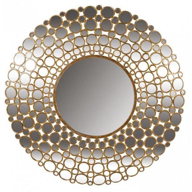 L'HÉRITIER Du Temps Superbe Miroir à Facettes Convexe de Chez Signature Multiples Glaces Forme Ronde Mural en Métal Doré 6x103x103cm