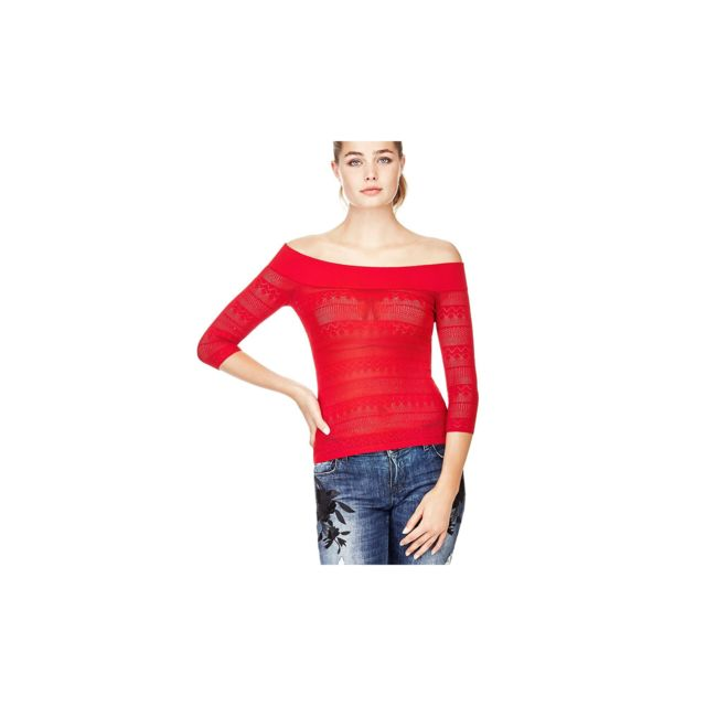 Guess - Pull Femme Ebe col bateau Rouge W82R11 - Taille - S - pas cher Achat    Vente Pulls femme - RueDuCommerce bc7432a38bf