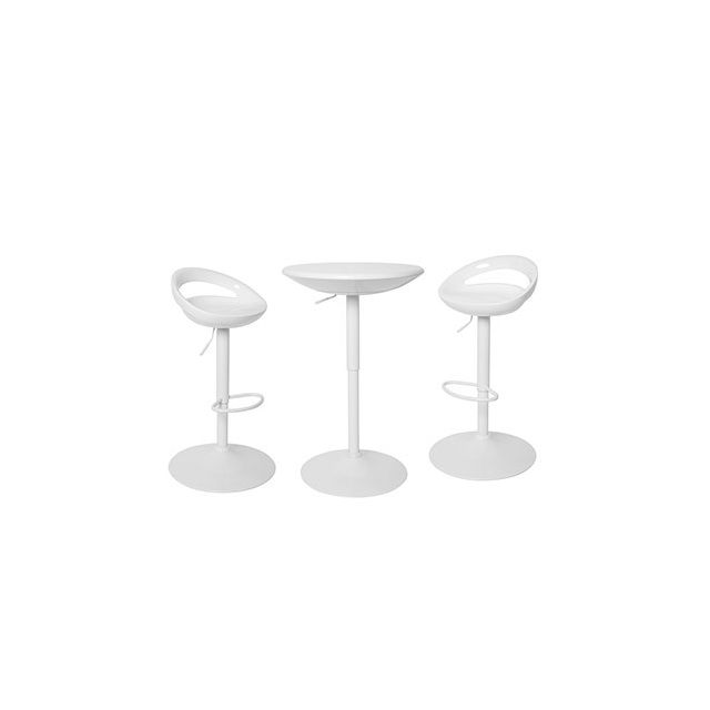 Ensemble table bar plateau tournant + 2 tabourets blanc