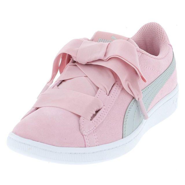 pas mal 71e08 a9c48 Chaussures basses cuir ou simili Vikky ribbon rose cdte Rose 17059