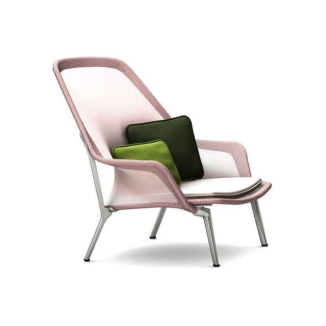 Marque Generique Fauteuil Slow Chair - chromé - rouge
