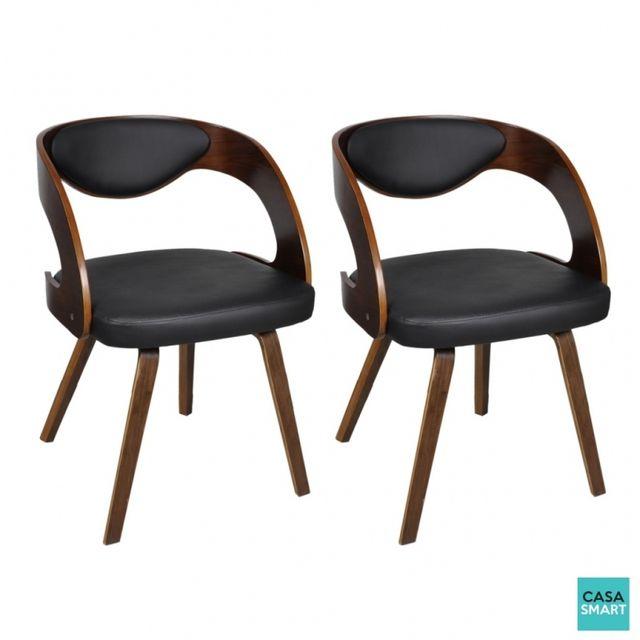Casasmart Lot de 2 chaises Cody en cuir mélangé marron