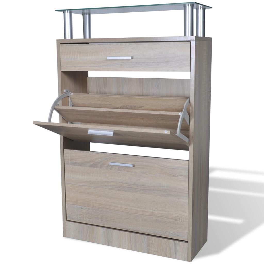 Rocambolesk - Superbe Meuble à chaussures en bois avec tiroir et plateau Aspect chêne neuf