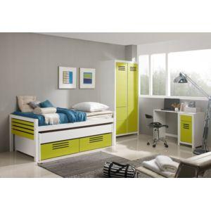 inside75 lit gigogne double marlone violet et vert avec. Black Bedroom Furniture Sets. Home Design Ideas
