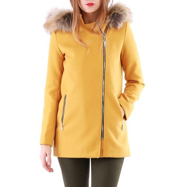 100% authentique grand assortiment design distinctif Lamodeuse - Manteau jaune moutarde à fermeture zippée - pas ...