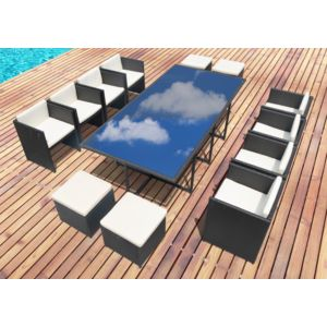 concept usine miami 12 salon de jardin encastrable 12 personnes en r sine tress e noire poly. Black Bedroom Furniture Sets. Home Design Ideas