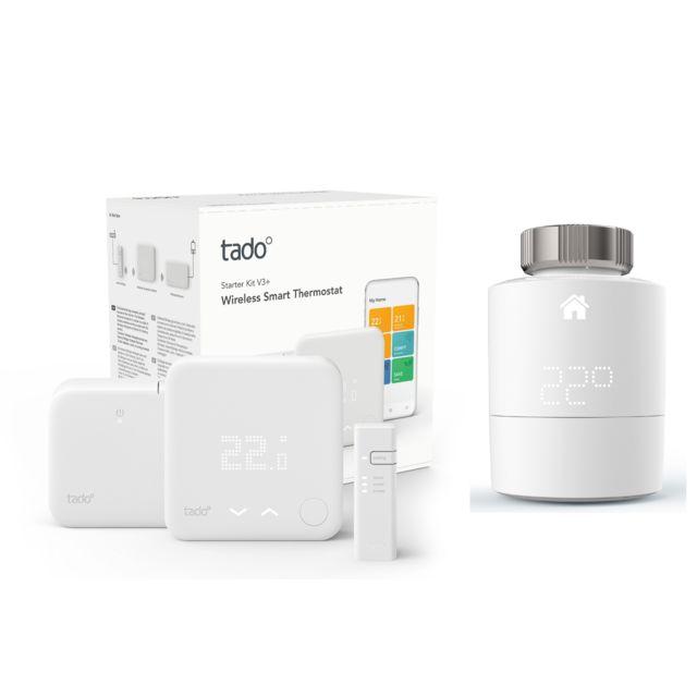 TADO - Kit de démarrage V3+ - Thermostat Intelligent sans fil + Tête thermostatique Intelligente