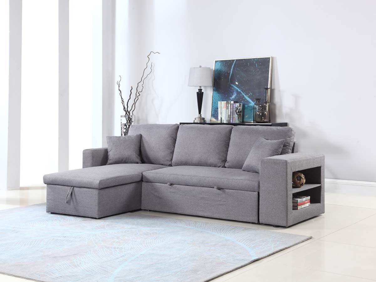 Canapé d'angle convertible et réversible Allen luxe - Gris - Angle gauche/droit