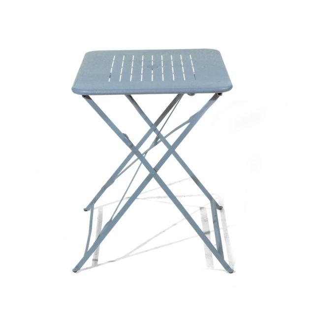 Table pliante Denver. Dimensions: L.80 x l.60 x H.74 cm. Structure en acier galvanisé, décor Deauville. Coloris: gris or