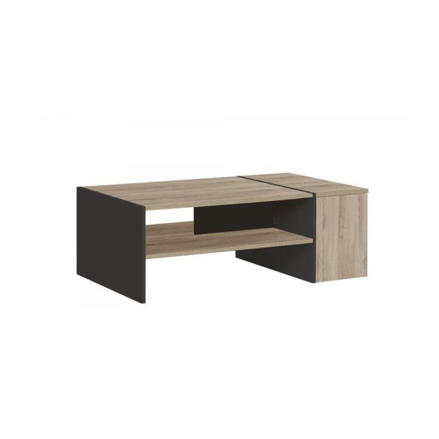 Calicosy Table basse avec rangement bar Yori - Fabrication Française