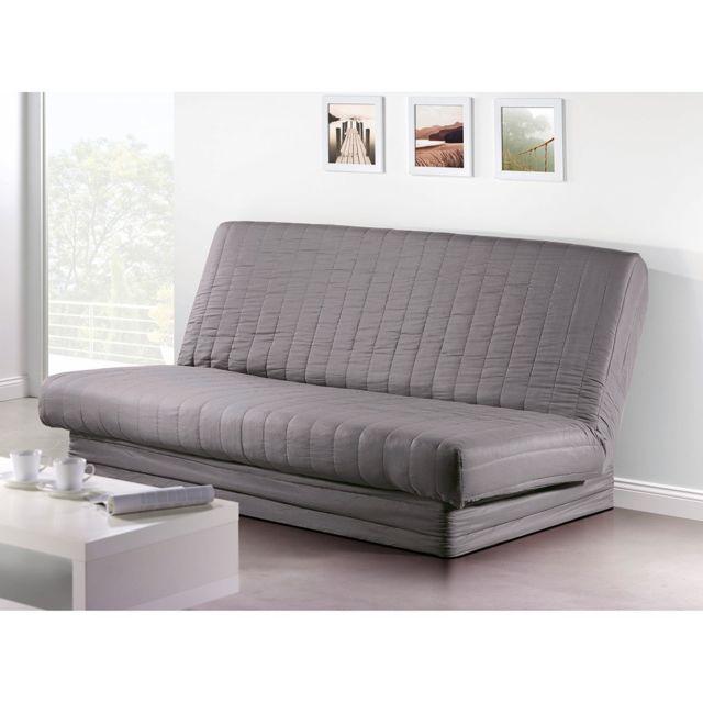 les douces nuits de ma housse de clic clac microfibre 140x200 cm gris pas cher achat. Black Bedroom Furniture Sets. Home Design Ideas
