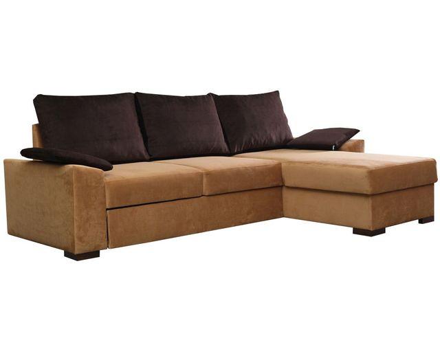 COMFORIUM - Canapé d angle convertible 3 places en tissu beige et ... 0d23059afee4