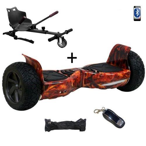 "Pack Hoverboard 8,5"" Hummer Flamme+ Hoverkart Noir avec bluetooth sac et télécommande"