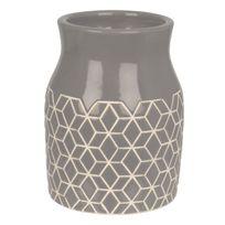 Present Time - Vase Hexagon Céramique 20 cm Gris