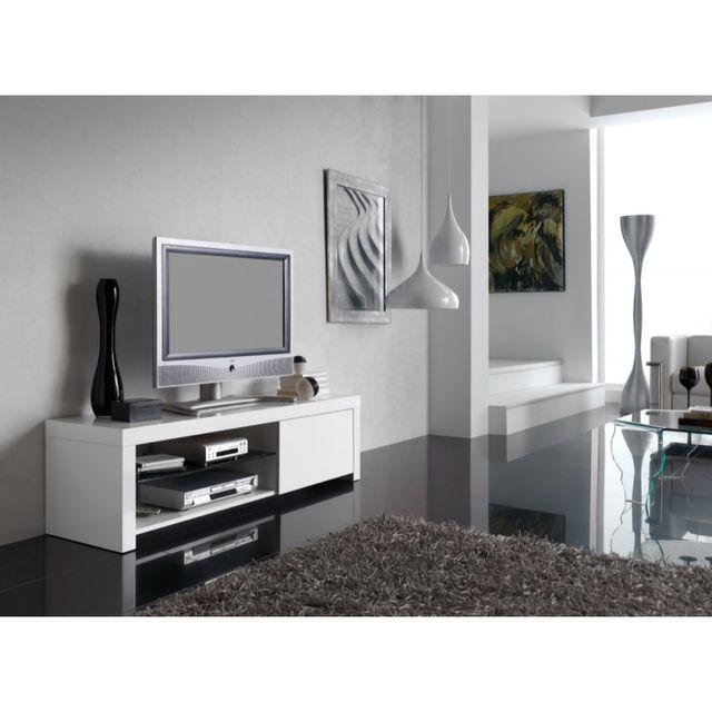 Ma Maison Mes Tendances Meuble Tv 1 porte 1 étagère en bois laqué blanc brillant Thori - L 150 x l 40 x H 42