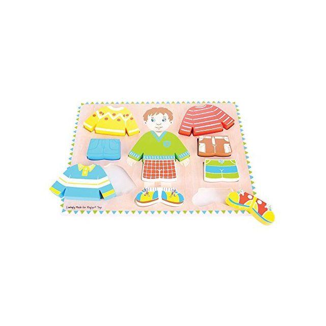 Bigjigs Toys Dressing Boy Puzzle - Wooden Dress-Up Jigsaw