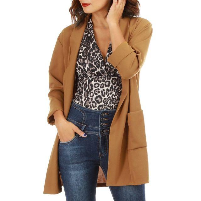 huge discount e808d 70116 Lamodeuse - Veste blazer camel manches 3 4