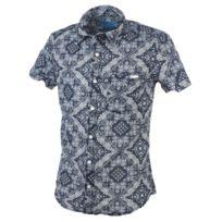 Biaggio - Chemise manches courtes Cirel navy/blc mc shirt Bleu 22448