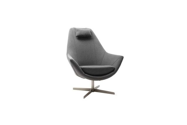 Miliboo Fauteuil design polyester gris foncé et pied étoile aluminium Amadeo