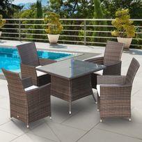 Ensemble salon de jardin 4 fauteuils avec coussins assise + table carrée plateau verre trempé résine tressée imitation rotin chocolat neuf 31
