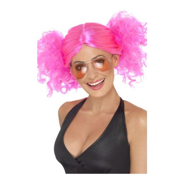 Perruque rose femme années 80