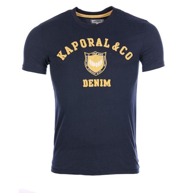 f1dd9123e32b Kaporal 5 - Kaporal Premium Homme - T-shirt Kam bleu marine col rond hiver